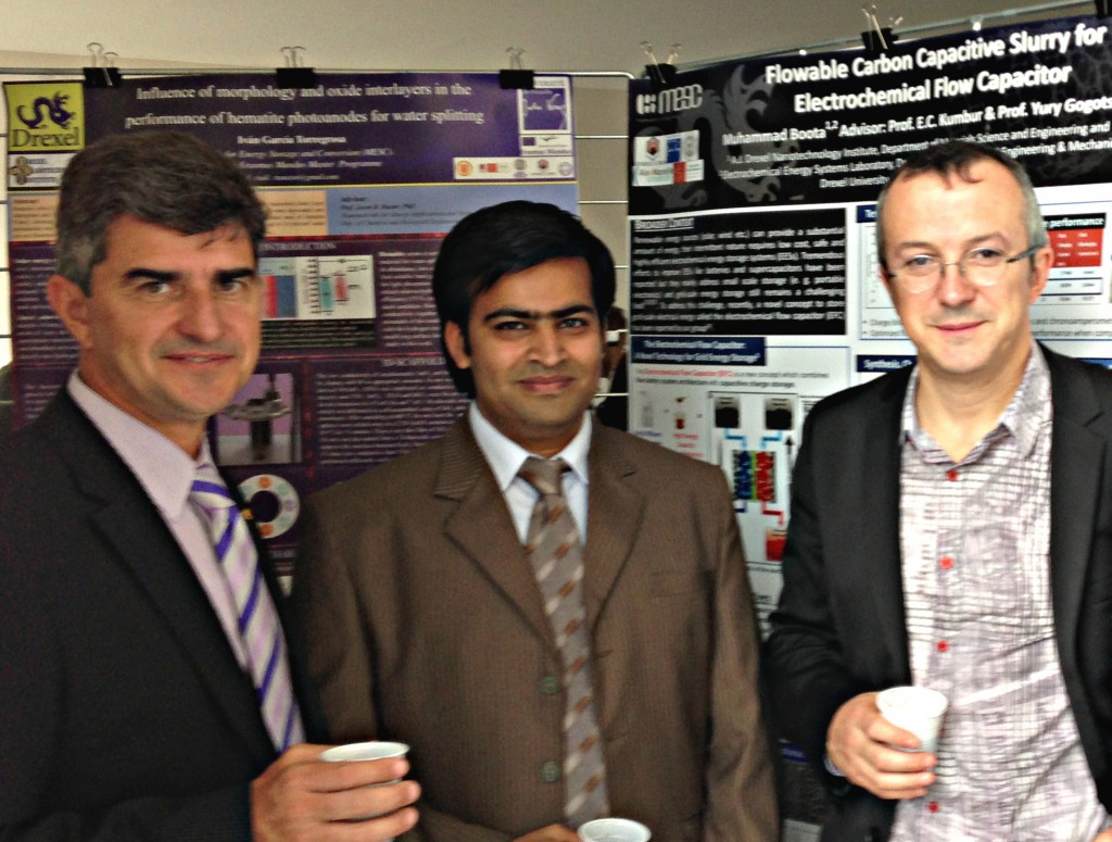 Dr. Gogotsi, Muhammad Boota, and NMG collaborator Dr. Patrice Simon with Muhammad's poster.