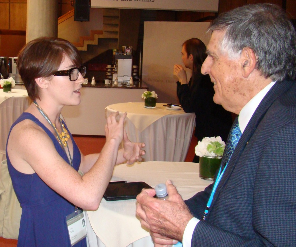 Kristy Jost with 2011 Chemistry Laureate Dan Shechtman