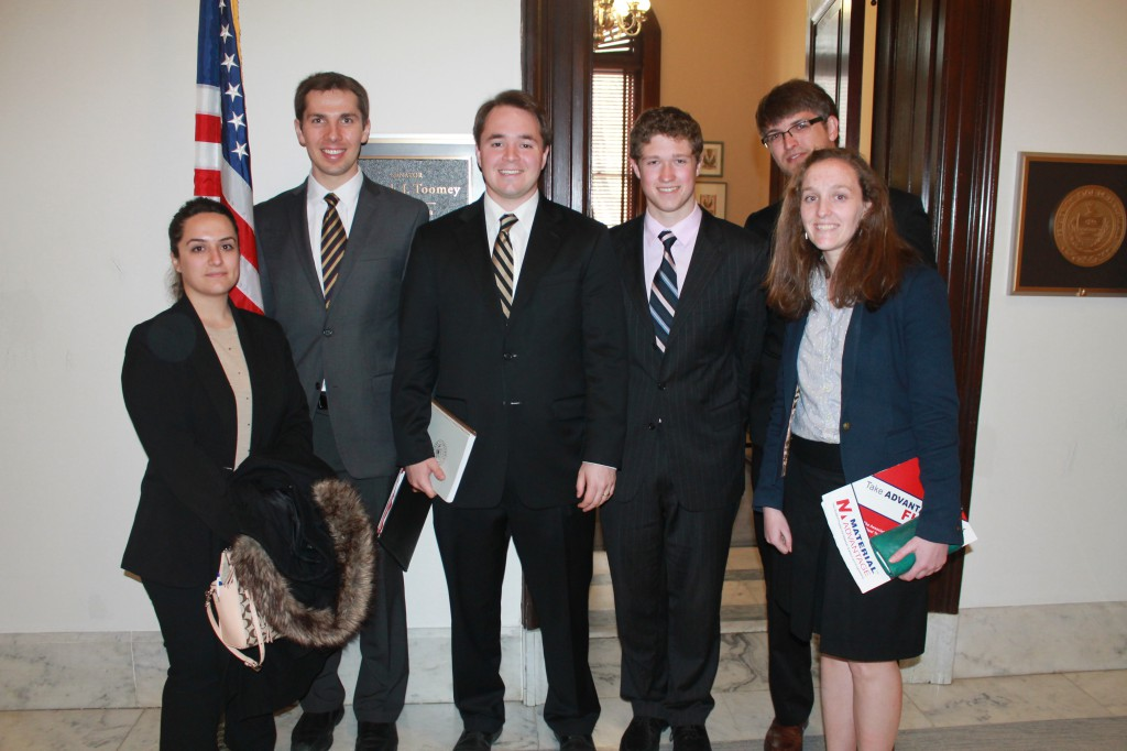 Left to Right: Pelin Kansu Lemons, Boris Dyatkin, Jeremy Baker (staffer for Senator Pat Toomey, R-PA), Alex McBride, Sean Orzolek, Kelsey Hatzell