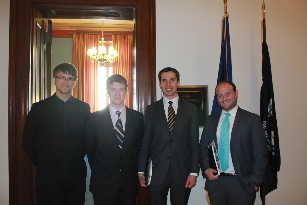 Left to right: Sean Orzolek, Alex McBride, Boris Dyatkin, John Richter (staffer for Senator Bob Casey, D-PA)