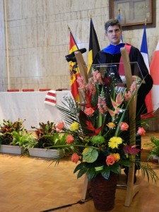 Prof. Yury Gogotsi delivering speech after receiving honorary degree.
