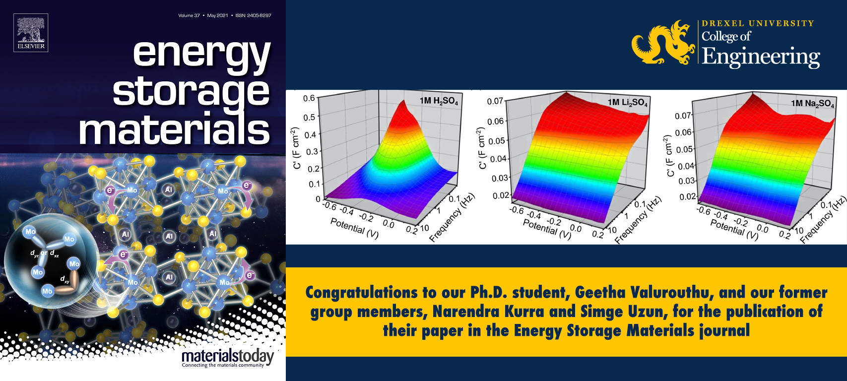 Congratulations to Our Ph.D. student, Geetha Valurouthu, and Our Former Group Members, Narendra Kurra and Simge Uzun, for the Publication of Their Paper in the Energy Storage Materials Journal