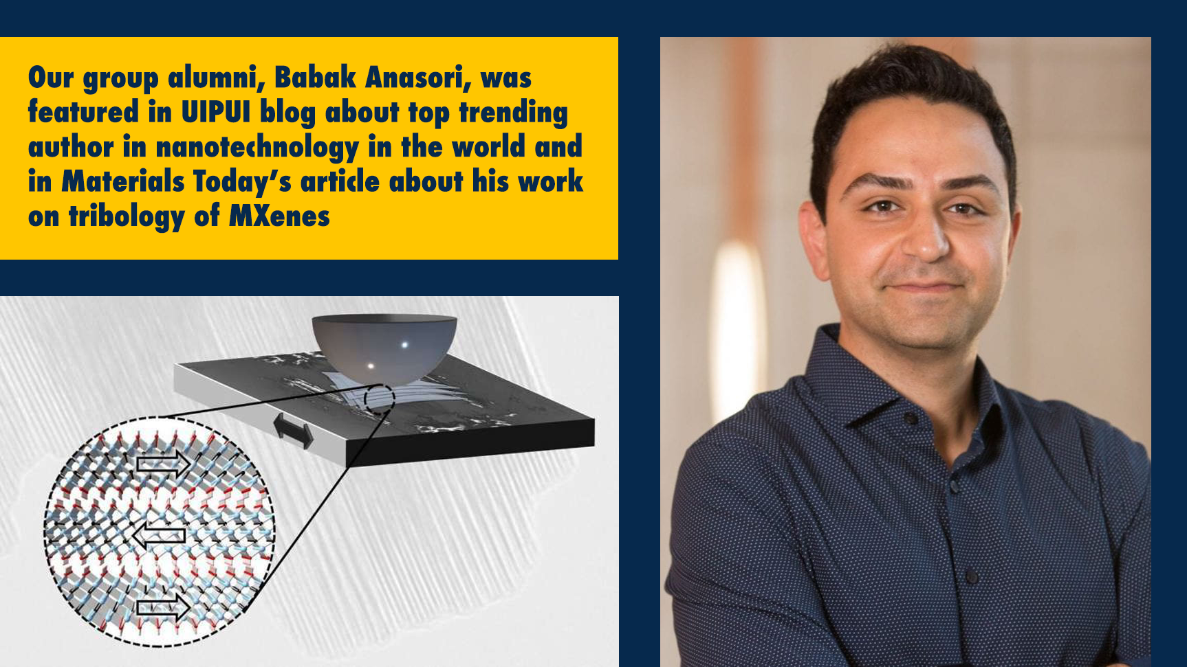 Our Group Alumni, Babak Anasori, Featured in UIPUI Blog About Top Trending Author in Nanotechnology in the World and in Materials Today's Article about His Work on Tribology of MXenes